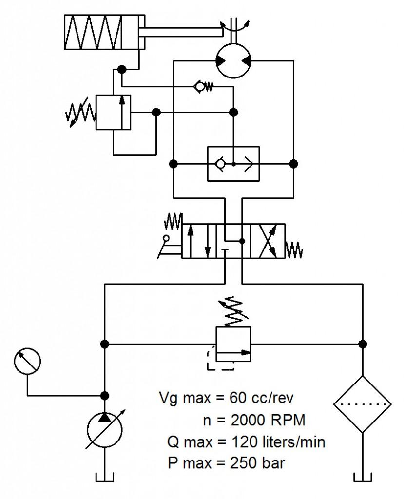 Exhibit 1. Hydraulic winch circuit.